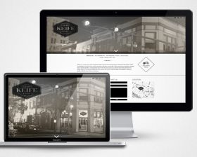 The new Keife and Co website design -  Fine wine merchants in New Orleans - Featuring, about, social feed, contact, and location.