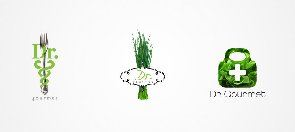 Doctor-gourmet-preliminary-logos-fork-sprouts-lettuce-medical-bag