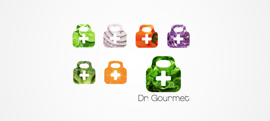 Doctor-gourmet-preliminary-logos-medical-bag-variations-lime-onion-bell-pepper-cabbage-broccoli-orange-lettuce