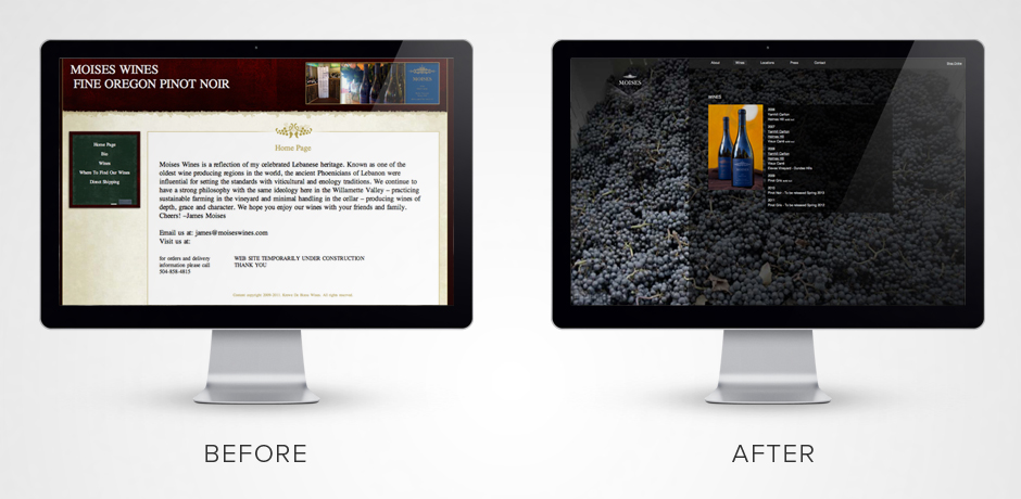 Moises-wines-website-design-before-and-after-apple-display-wines-list